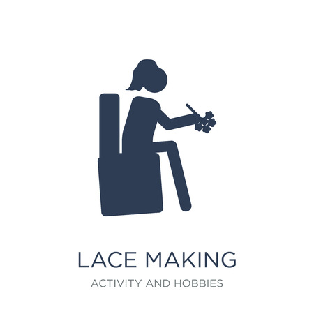 Lace making icon. Trendy flat vector Lace making icon on white background from Activity and Hobbies collection, vector illustration can be use for web and mobile, eps10
