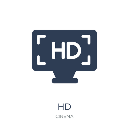 Hd icon. Trendy flat vector Hd icon on white background from Cinema collection, vector illustration can be use for web and mobile, eps10