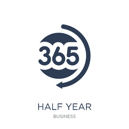 Half year icon. Trendy flat vector Half year icon on white background from Business collection, vector illustration can be use for web and mobile, eps10 Illustration