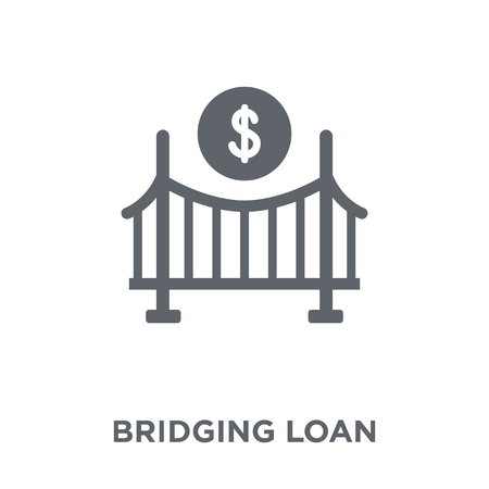 Bridging loan icon. Bridging loan design concept from Bridging loan collection. Simple element vector illustration on white background. Ilustracja