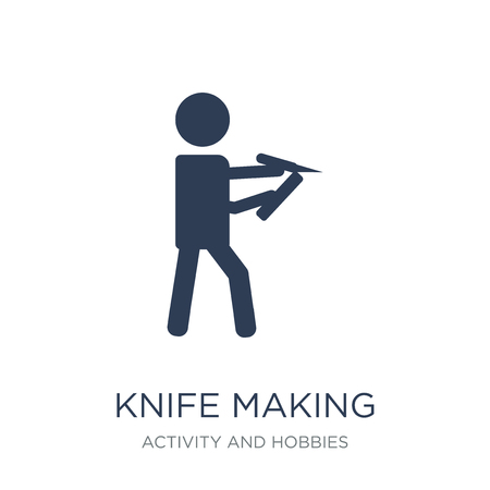 Knife making icon. Trendy flat vector Knife making icon on white background from Activity and Hobbies collection, vector illustration can be use for web and mobile, eps10