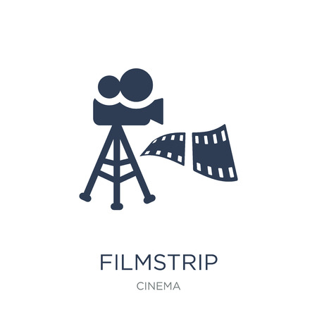 filmstrip icon. Trendy flat vector filmstrip icon on white background from Cinema collection, vector illustration can be use for web and mobile, eps10 向量圖像