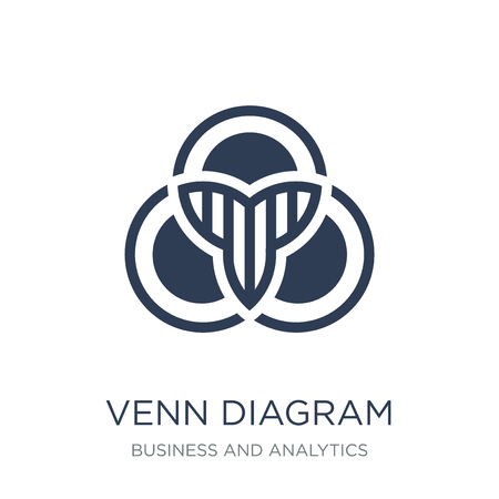 Venn diagram icon. Trendy flat vector Venn diagram icon on white background from Business and analytics collection, vector illustration can be use for web and mobile, eps10 Çizim