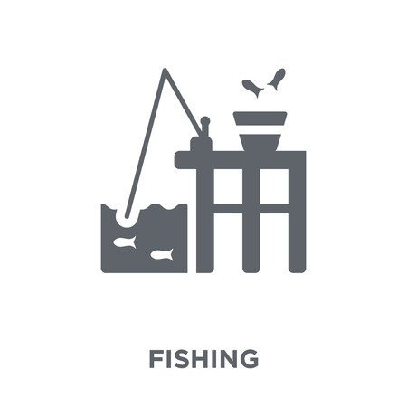 Fishing icon. Fishing design concept from Camping collection. Simple element vector illustration on white background. Foto de archivo - 112046815