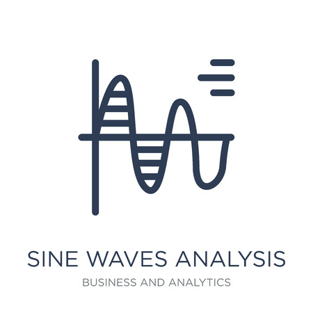 Het pictogram van de analyse van sinusgolven. Trendy platte vector sinus analyse pictogram op witte achtergrond uit Business en analytics collectie, vectorillustratie kan worden gebruikt voor web en mobiel, eps10