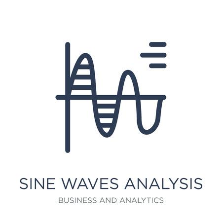 Icona di analisi delle onde sinusoidali. Icona di analisi delle onde sinusoidali piatto vettoriale su priorità bassa bianca da collezione Business e analitica, illustrazione vettoriale può essere utilizzato per il web e mobile, eps10