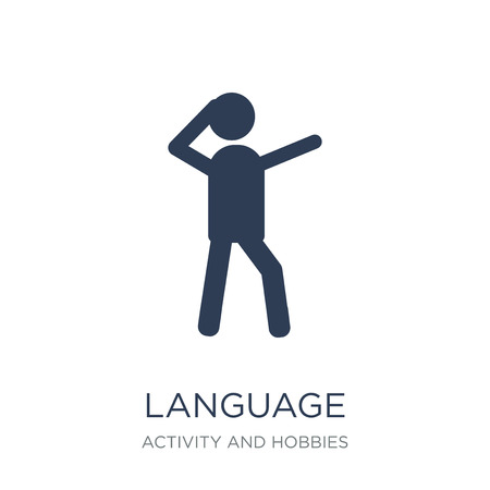Language icon. Trendy flat vector Language icon on white background from Activity and Hobbies collection, vector illustration can be use for web and mobile, eps10