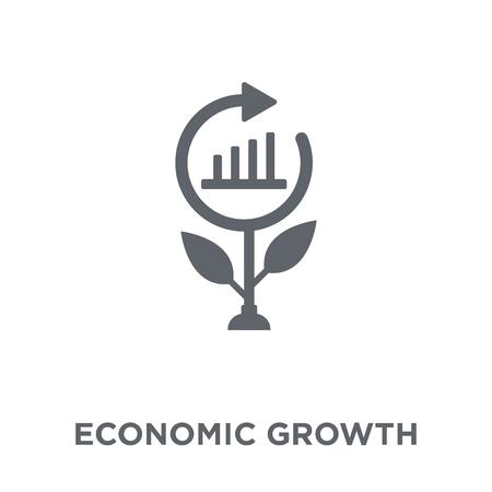 Symbol für Wirtschaftswachstum. Designkonzept für Wirtschaftswachstum aus der Kollektion für Wirtschaftswachstum. Einfache Elementvektorillustration auf weißem Hintergrund. Vektorgrafik