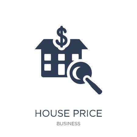 Symbol für Hauspreisumfragen. Trendiges flaches Vektorhauspreisumfragesymbol auf weißem Hintergrund aus der Geschäftssammlung, Vektorillustration kann für Web und Mobile verwendet werden, eps10