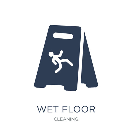 Wet floor icon. Trendy flat vector Wet floor icon on white background from Cleaning collection, vector illustration can be use for web and mobile, eps10