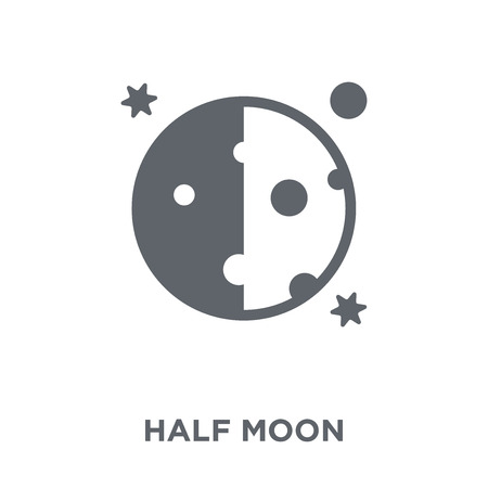 Half moon icon. Half moon design concept from Astronomy collection. Simple element vector illustration on white background. 向量圖像
