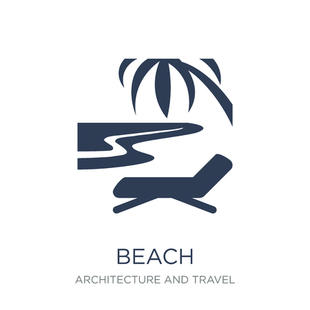 Beach icon. Trendy flat vector Beach icon on white background from Architecture and Travel collection, vector illustration can be use for web and mobile, eps10