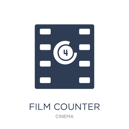 Film counter icon. Trendy flat vector Film counter icon on white background from Cinema collection, vector illustration can be use for web and mobile, eps10  イラスト・ベクター素材