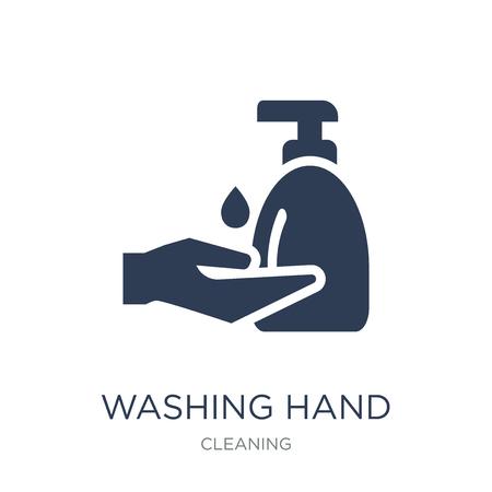 Handsymbol waschen. Trendige flache Vektorwaschhandikone auf weißem Hintergrund aus der Reinigungssammlung, Vektorillustration kann für Web und Mobile verwendet werden, eps10 Vektorgrafik