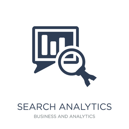 Search Analytics icon. Trendy flat vector Search Analytics icon on white background from Business and analytics collection, vector illustration can be use for web and mobile, eps10