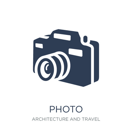 Photo icon. Trendy flat vector Photo icon on white background from Architecture and Travel collection, vector illustration can be use for web and mobile, eps10