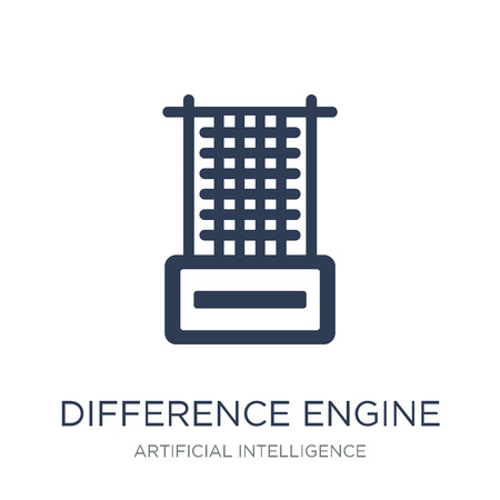 Difference engine icon. Trendy flat vector Difference engine icon on white background from Artificial Intelligence, Future Technology collection, vector illustration can be use for web and mobile, eps10