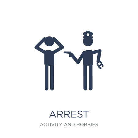 Arrest icon. Trendy flat vector Arrest icon on white background from Activity and Hobbies collection, vector illustration can be use for web and mobile, eps10