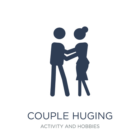 Couple Huging icon. Trendy flat vector Couple Huging icon on white background from Activity and Hobbies collection, vector illustration can be use for web and mobile, eps10 Banque d'images - 111271602