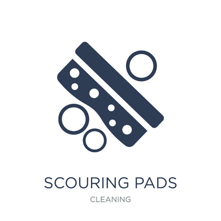 scouring pads icon. Trendy flat vector scouring pads icon on white background from Cleaning collection, vector illustration can be use for web and mobile, eps10 Ilustração