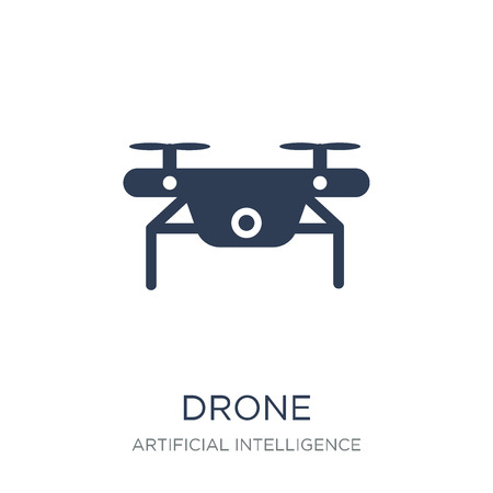 Drone icon. Trendy flat vector Drone icon on white background from Artificial Intelligence, Future Technology collection, vector illustration can be use for web and mobile, eps10 Ilustração