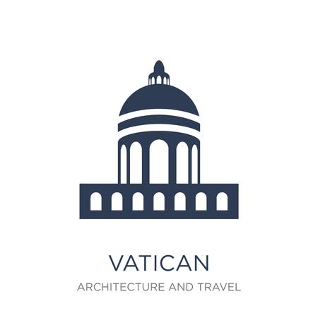 Icona del Vaticano. Icona del Vaticano piatto vettoriale su priorità bassa bianca da collezione di architettura e viaggi, illustrazione vettoriale può essere utilizzato per il web e mobile, eps10 Vettoriali