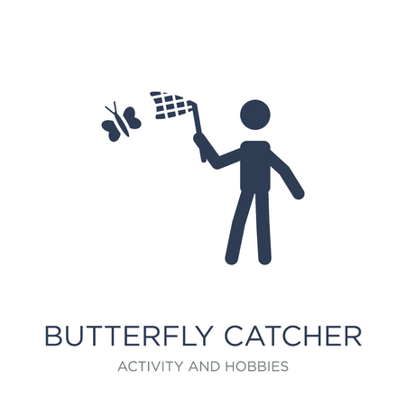 Butterfly catcher icon. Trendy flat vector Butterfly catcher icon on white background from Activity and Hobbies collection, vector illustration can be use for web and mobile, eps10
