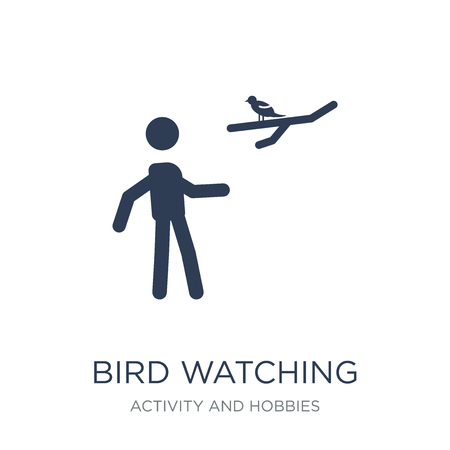 Bird watching icon. Trendy flat vector Bird watching icon on white background from Activity and Hobbies collection, vector illustration can be use for web and mobile, eps10 Ilustração