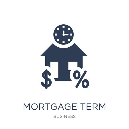 Mortgage term icon. Trendy flat vector Mortgage term icon on white background from Business collection, vector illustration can be use for web and mobile, eps10 Illustration