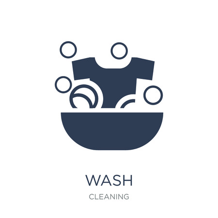 Wash icon. Trendy flat vector Wash icon on white background from Cleaning collection, vector illustration can be use for web and mobile, eps10 Illustration