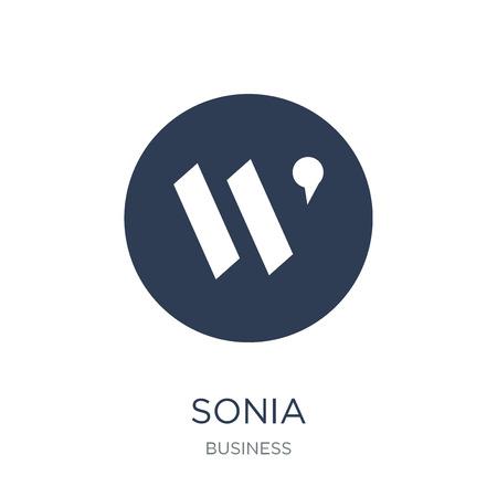 Icona di Sonia. Icona di Sonia piatto vettoriale su sfondo bianco da collezione business, illustrazione vettoriale può essere utilizzato per web e mobile, eps10 Vettoriali