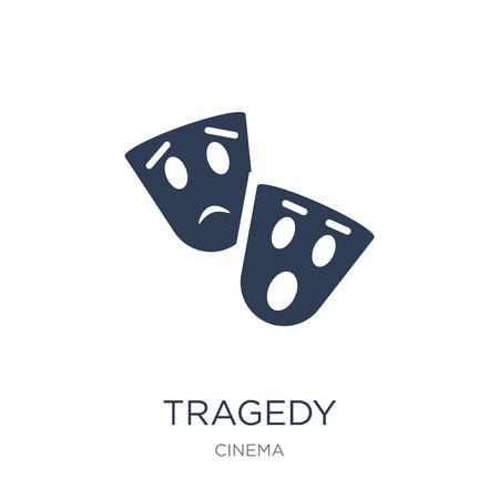 icône de tragédie. Icône de tragédie vecteur plat sur fond blanc de la collection Cinema, illustration vectorielle peut être utilisé pour le web et mobile, eps10 Vecteurs