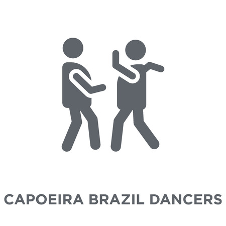 Capoeira Brazil dancers icon. Capoeira Brazil dancers design concept from Brazilian icons collection. Simple element vector illustration on white background. Banque d'images - 111939967