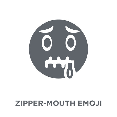 Zipper-Mouth emoji icon. Zipper-Mouth emoji design concept from Emoji collection. Simple element vector illustration on white background.  イラスト・ベクター素材