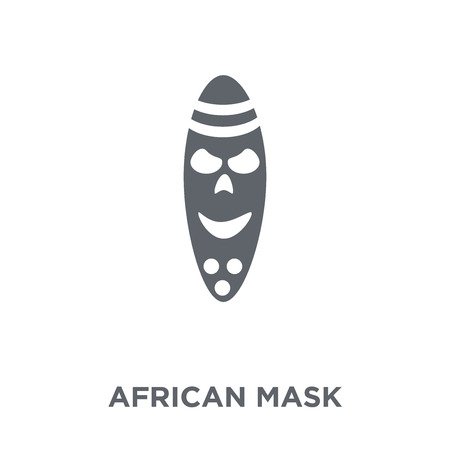 African mask icon. African mask design concept from Museum collection. Simple element vector illustration on white background. Banque d'images - 112059937