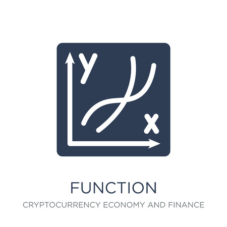 Function icon. Trendy flat vector Function icon on white background from Cryptocurrency economy and finance collection, vector illustration can be use for web and mobile, eps10 版權商用圖片 - 112059940