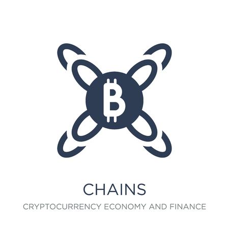 Chains icon. Trendy flat vector Chains icon on white background from Cryptocurrency economy and finance collection, vector illustration can be use for web and mobile, eps10 Illustration