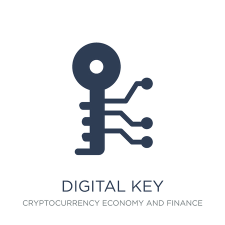 Digital key icon. Trendy flat vector Digital key icon on white background from Cryptocurrency economy and finance collection, vector illustration can be use for web and mobile, eps10 Illustration