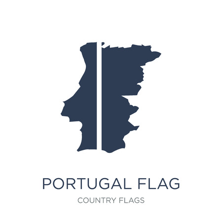 Portugal flag icon. Trendy flat vector Portugal flag icon on white background from Country Flags collection, vector illustration can be use for web and mobile, eps10 Ilustração