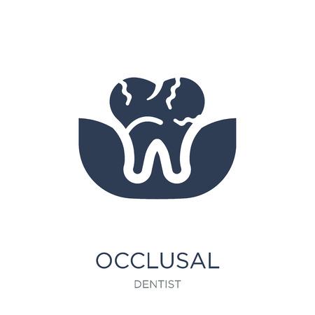 Okklusales Symbol. Trendiges flaches Vektorokklusalsymbol auf weißem Hintergrund aus der Zahnarztsammlung, Vektorillustration kann für Web und Mobile verwendet werden, eps10