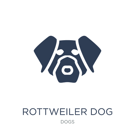 Rottweiler dog icon. Trendy flat vector Rottweiler dog icon on white background from dogs collection, vector illustration can be use for web and mobile, eps10 Illustration