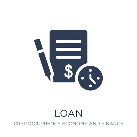 Loan icon. Trendy flat vector Loan icon on white background from Cryptocurrency economy and finance collection, vector illustration can be use for web and mobile, eps10