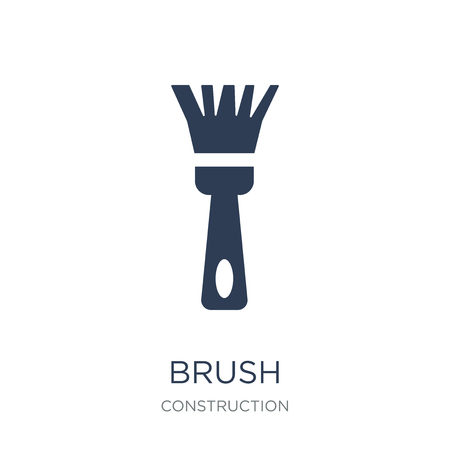 Brush icon. Trendy flat vector Brush icon on white background from Construction collection, vector illustration can be use for web and mobile, eps10 Stock Vector - 112060225