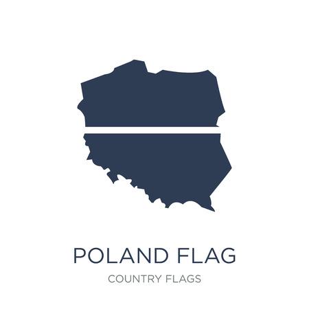 Polen Flaggensymbol. Trendiges flaches Vektor-Polen-Flaggensymbol auf weißem Hintergrund aus der Länderflaggensammlung, Vektorillustration kann für Web und Mobile verwendet werden, eps10