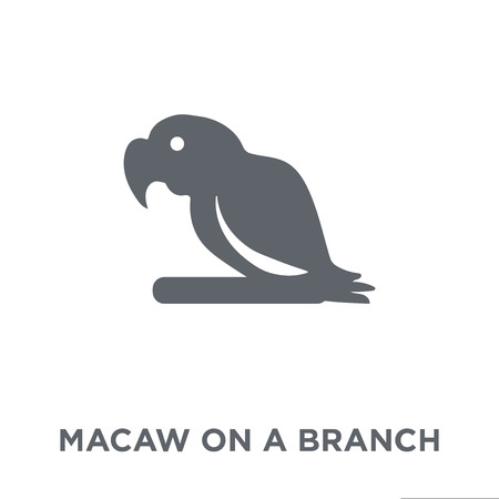 Macaw on a branch icon. Macaw on a branch design concept from Brazilian icons collection. Simple element vector illustration on white background.  イラスト・ベクター素材