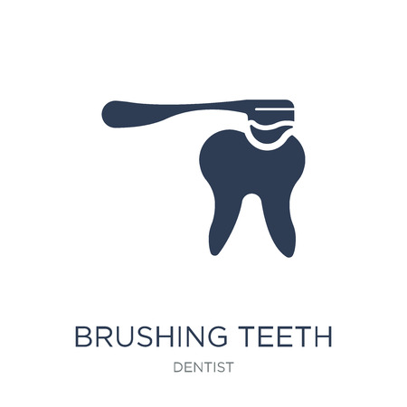 Brushing teeth icon. Trendy flat vector Brushing teeth icon on white background from Dentist collection, vector illustration can be use for web and mobile, eps10