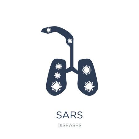 Icono de SARS. Icono de SARS de moda vector plano sobre fondo blanco de colección de enfermedades, Ilustración de vectores se puede utilizar para web y móvil, eps10