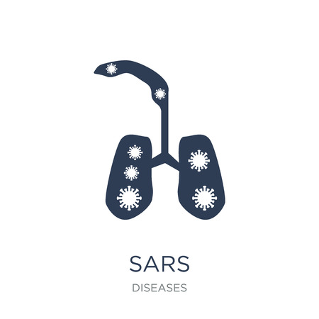 SARS icon. Trendy flat vector SARS icon on white background from Diseases collection, vector illustration can be use for web and mobile, eps10 Ilustrace