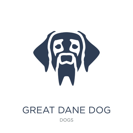 Great Dane dog icon. Trendy flat vector Great Dane dog icon on white background from dogs collection, vector illustration can be use for web and mobile, eps10 Banque d'images - 112061648