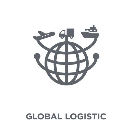Icono de logística global. Concepto de diseño logístico global de entrega y recogida logística. Ilustración de vector de elemento simple sobre fondo blanco.